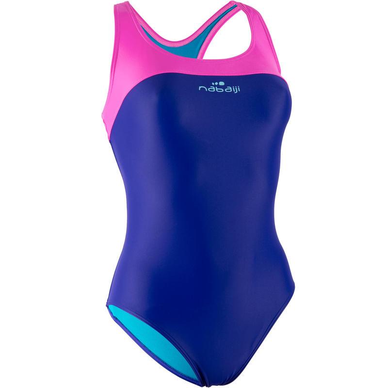 Traje de baño de natación una pieza mujer resistente al cloro Leony Azul Rosado
