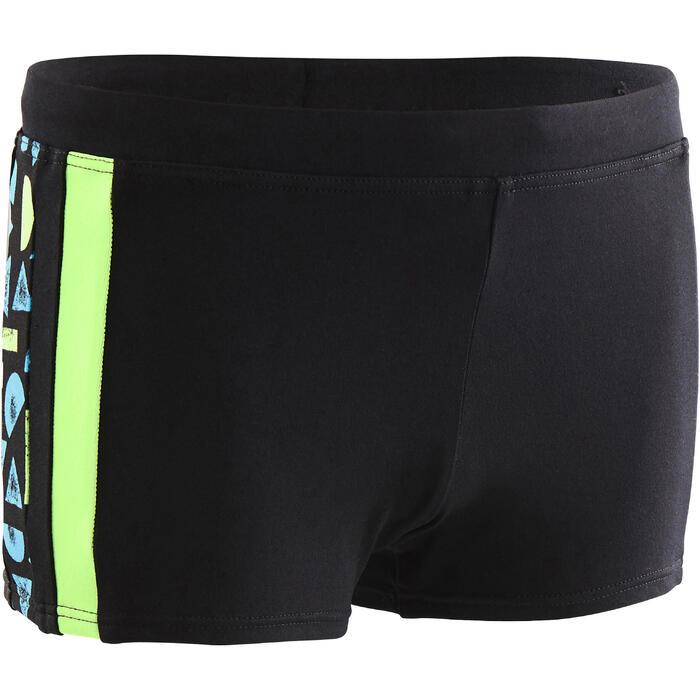 Badehose Boxer 500 Yoke Allroc Jungen schwarz/grün