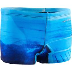 500 BOY'S SWIM BOXER SHORTS PRINT ALLJAWS BLUE