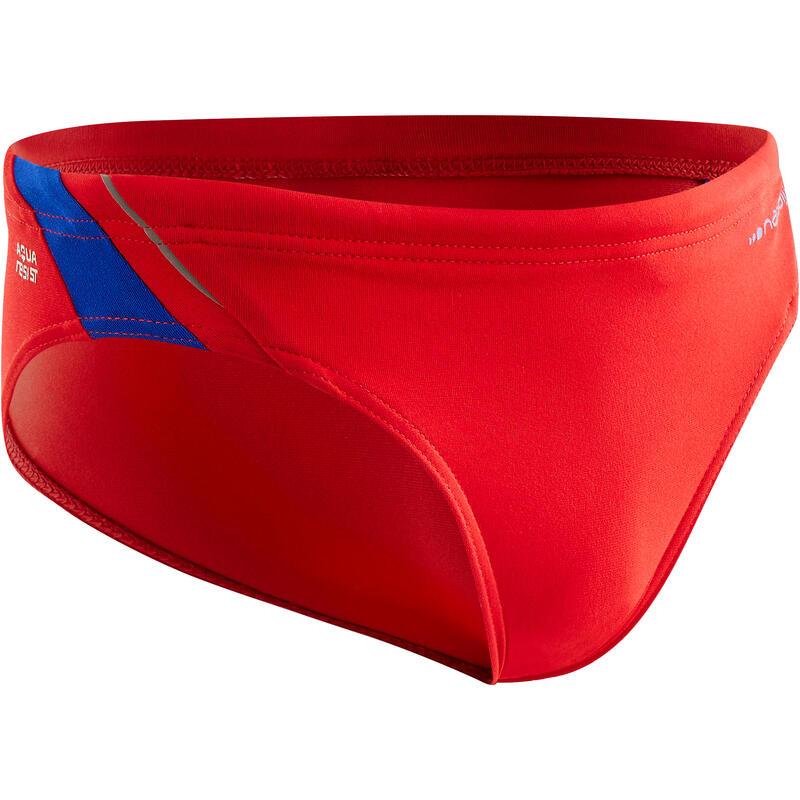 Bañador Slip Natación 900 Yoke Niño Rojo Azul