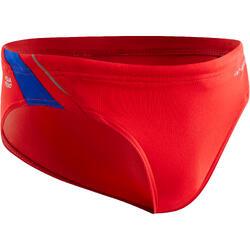 Zwemslip voor jongens 900 Yoke B rood/blauw
