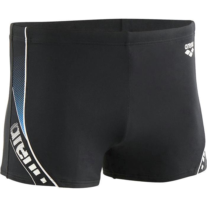 Zwemboxer heren met logo zwart/wit/blauw