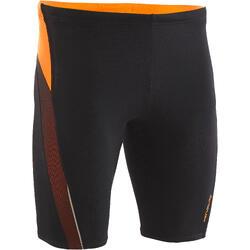 男款及膝短褲500 FIRST黑色網眼橘色