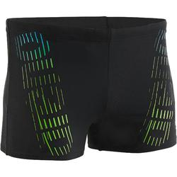 Zwemboxer heren met logo zwart/groen