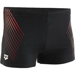 Zwemboxer heren met logo zwart/rood