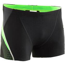Zwemboxer heren zwart/groen/wit