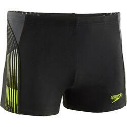 Zwemboxer voor heren met print zwart/geel
