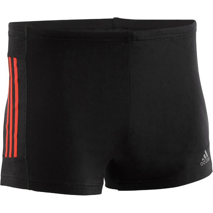 Badehose Boxer 3 Streifen Herren schwarz/rot
