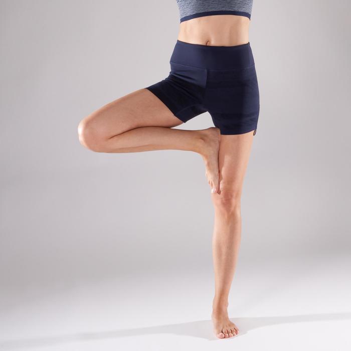 Sporthose kurz Yoga Damen marineblau mit Print