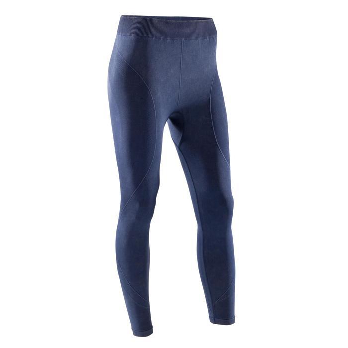 Legging YOGA+ 500 sans couture femme bleu longueur 7/8