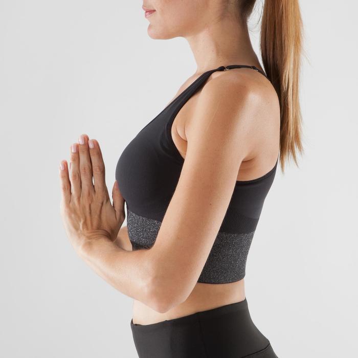Naadloos yogatopje voor dames zwart / zilver