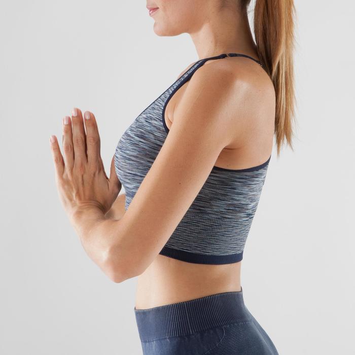 Omkeerbaar naadloos yogatopje voor dames blauw