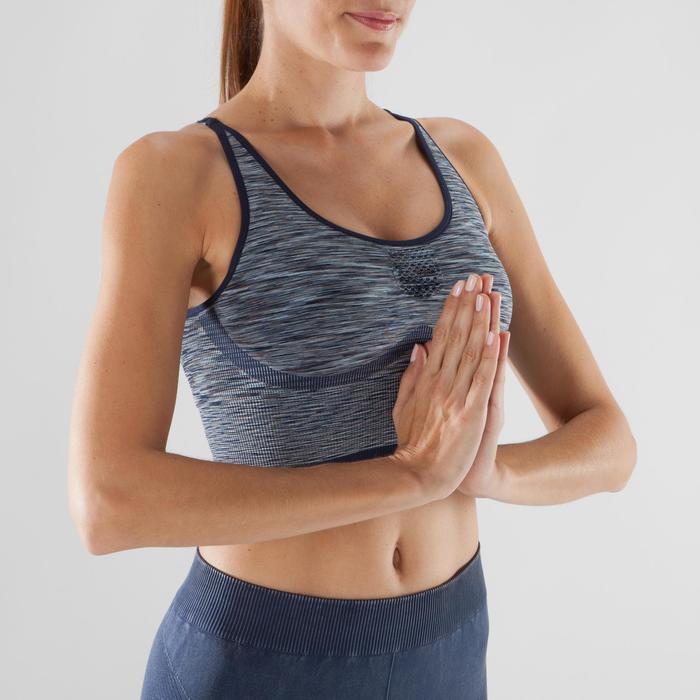 Top Sujetador Deportivo Yoga Dinámico Domyos 500 Mujer Azul/Gris Sin Costuras