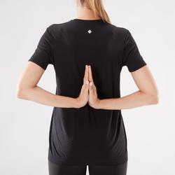 Camiseta de yoga dinámico sin costuras mujer negro