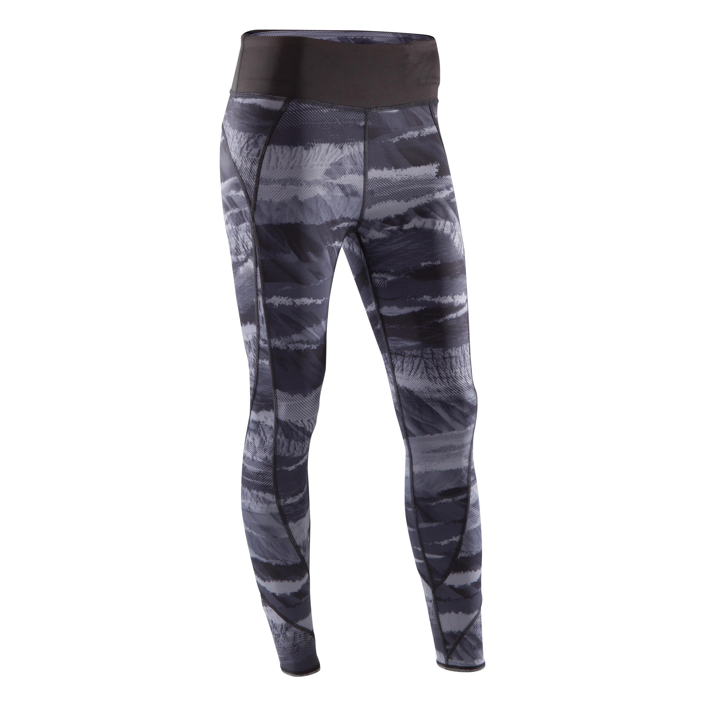 Domyos Omkeerbare legging Yoga+ 920 voor dames zwart/wit print