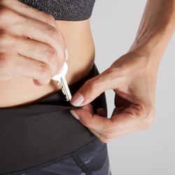 Mallas Leggings Deportivos Yoga Domyos 920 Slim Reversible Mujer Negro/Gris