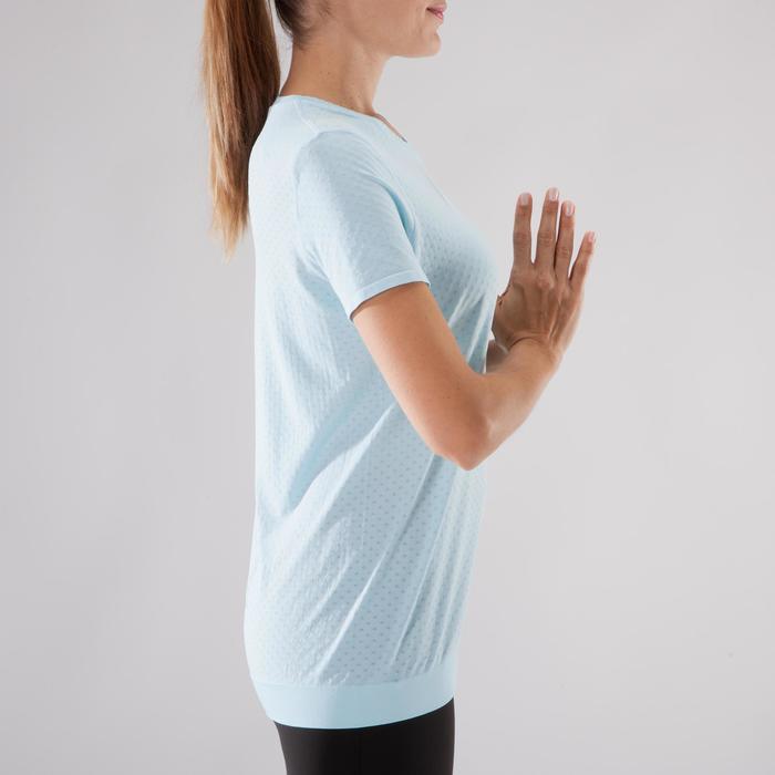 Naadloos yoga T-shirt voor dames blauw/grijs