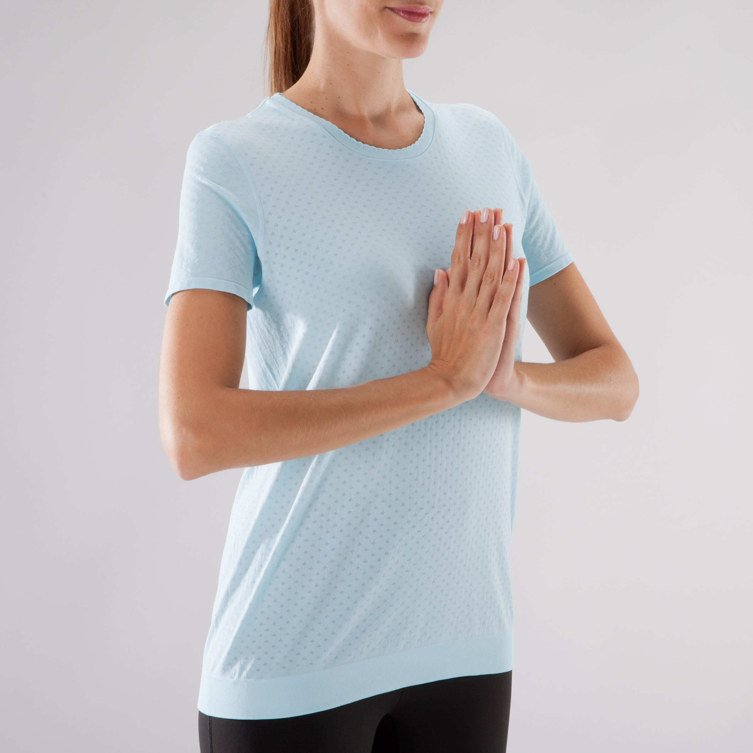 Women's Yoga Seamless T-Shirt - Blue/Grey