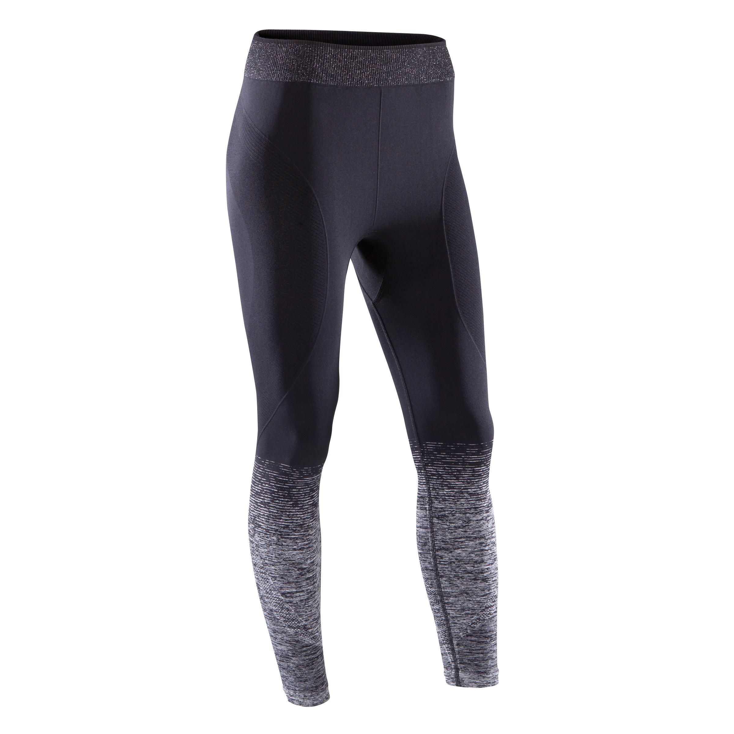 Legging YOGA sans coutures femme 7/8 noir/argent
