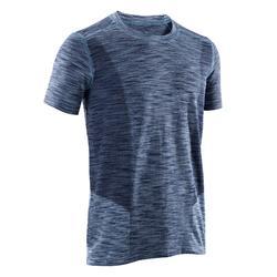 Camiseta Manga Yoga Dinámico Domyos Hombre Azul Jaspeado Sin Costuras