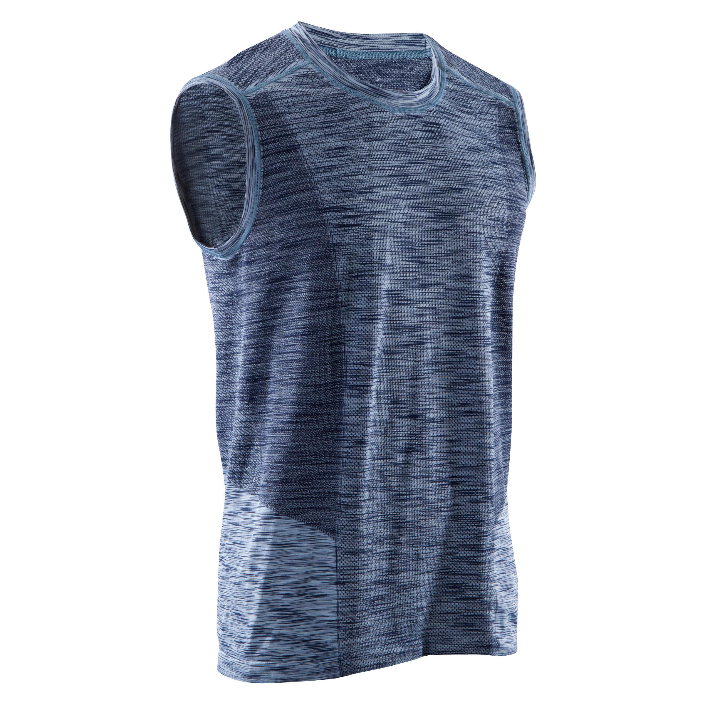 Camiseta sin mangas y sin costuras YOGA negro/azul para hombre