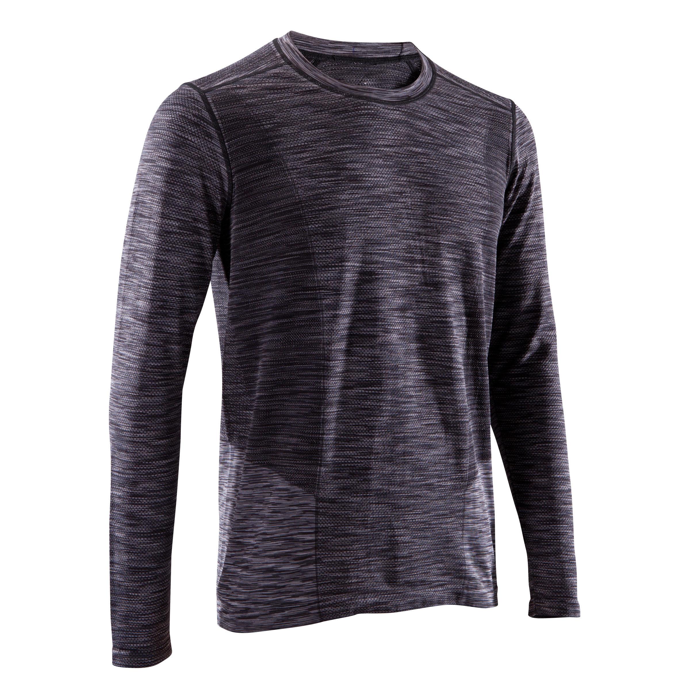 Camiseta de manga larga YOGA sin costuras para hombre negro / gris