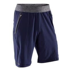 編織動態瑜珈短褲 - 藍色