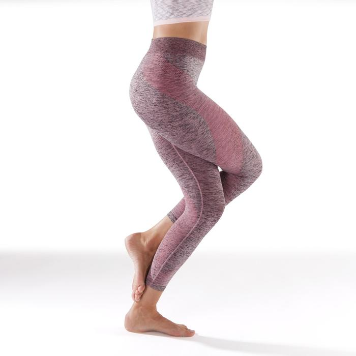 Legging YOGA sans coutures femme 7/8 rose chiné