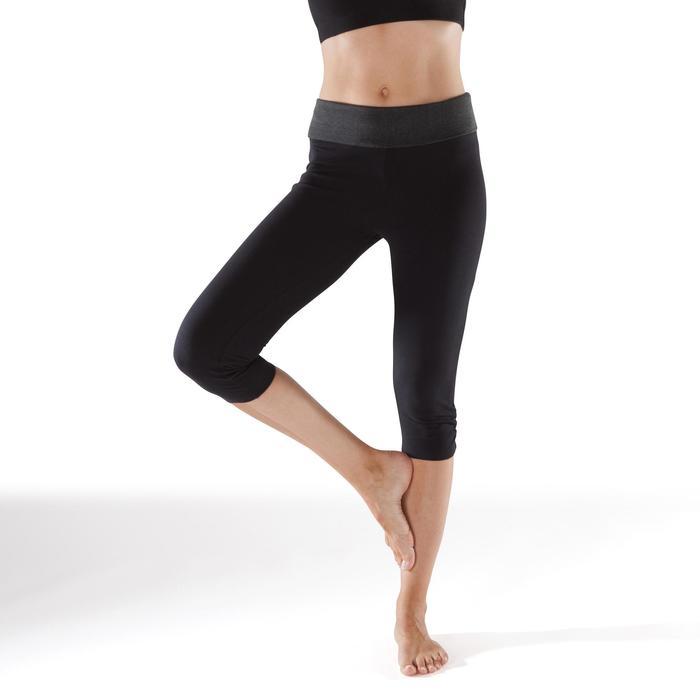 Dameskuitbroek voor yoga, biokatoen, zwart