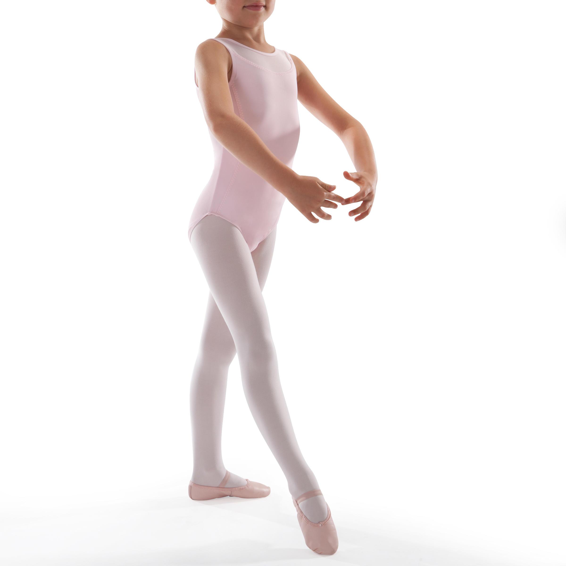 Leotardo de danza clásica en dos tejidos niña rosa