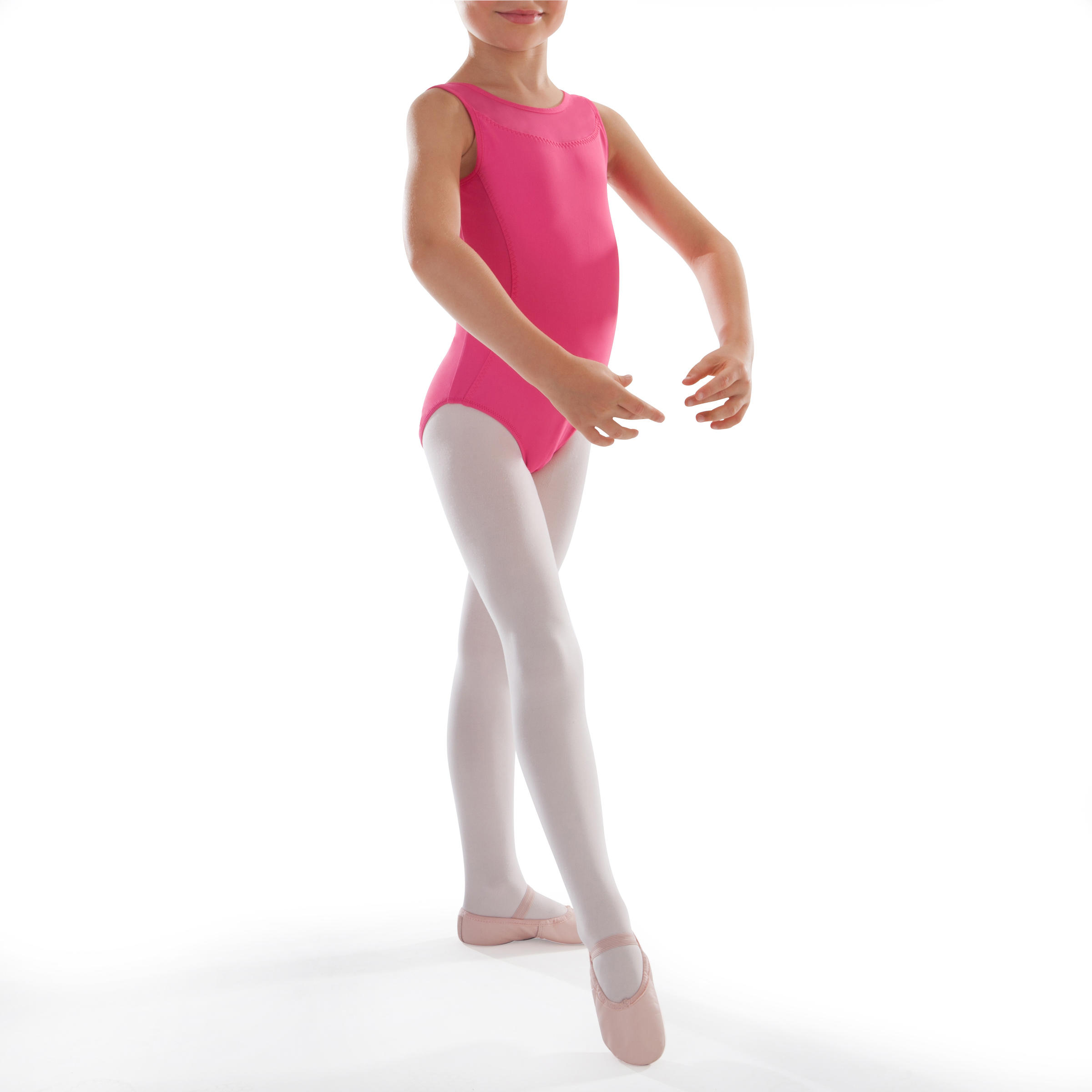 Leotardo de danza clásica de dos materiales de color fucsia para niña