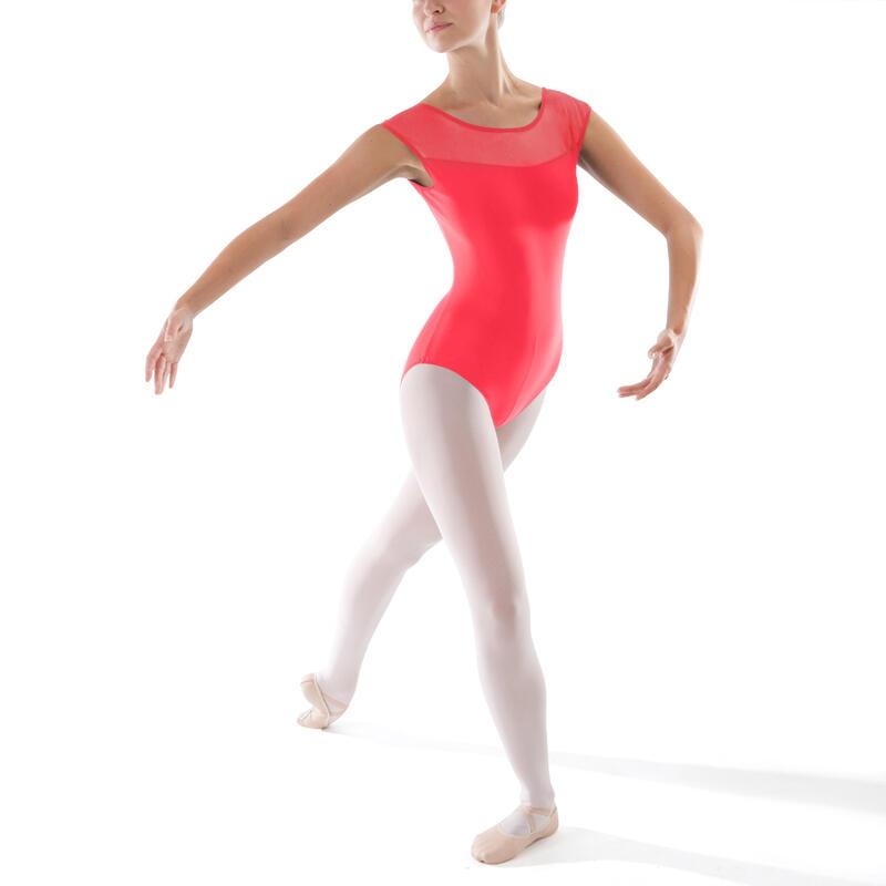 Women's Bi-Material Short-Sleeved Ballet Leotard - Coral