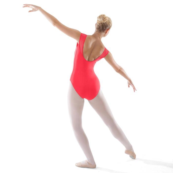 Maillot de danza clásica de manga corta en dos materias mujer coral