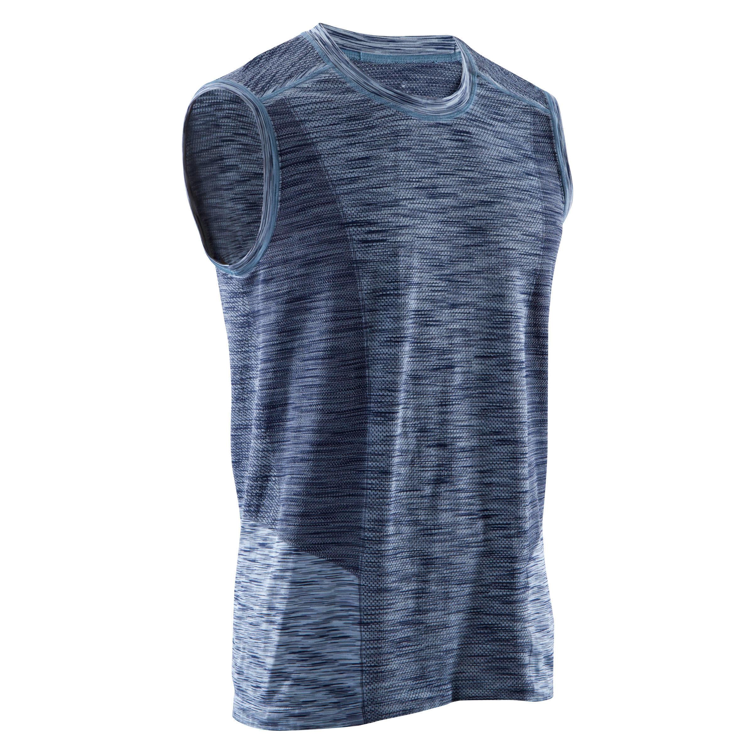 9f5f3364d Camiseta sin mangas y sin costuras YOGA negro/azul para hombre