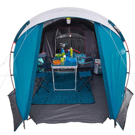 Camping Tent with Poles Arpenaz 4.1 F&B 4 People 1 Bedroom