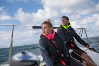 Race Women's Yacht Racing Softshell - Navy Blue Grey Neon Pink