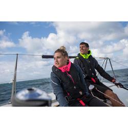 女款帆船競賽軟殼-軍藍色/灰色/螢光粉