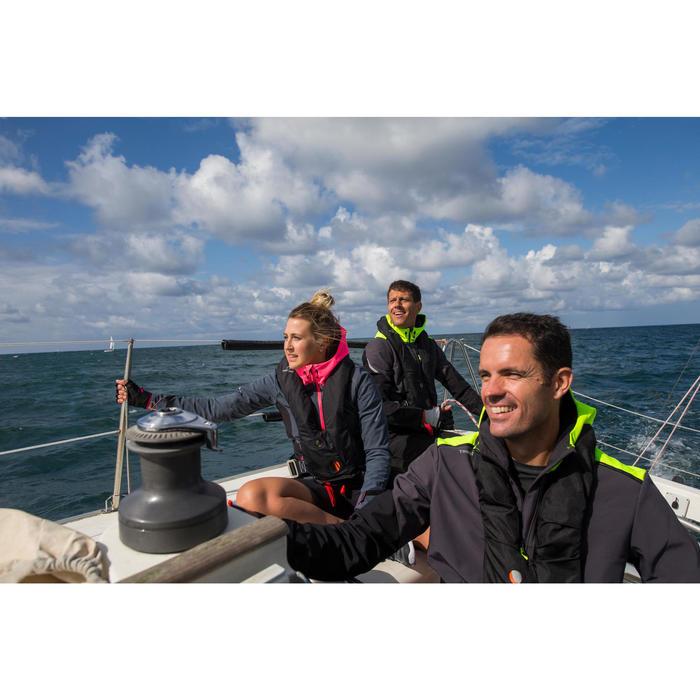 Chaqueta Cortaviento Impermeable Barco Vela Tribord Race Gris Rosa Capucha