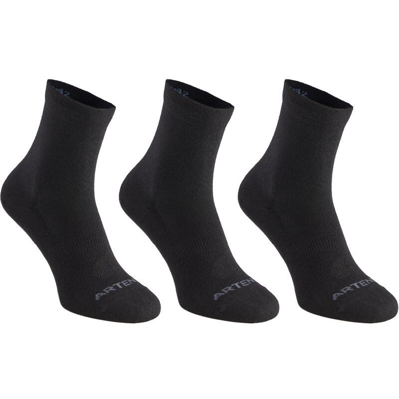 Vysoké tenisové ponožky RS160 černé 3 páry