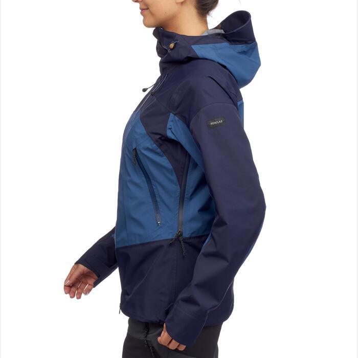 Veste imperméable trekking en montagne - TREK 500 bleue femme