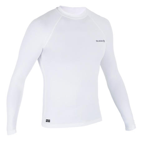8b78b5d5 100 Men's Long Sleeve UV Protection Surfing Top T-Shirt - White