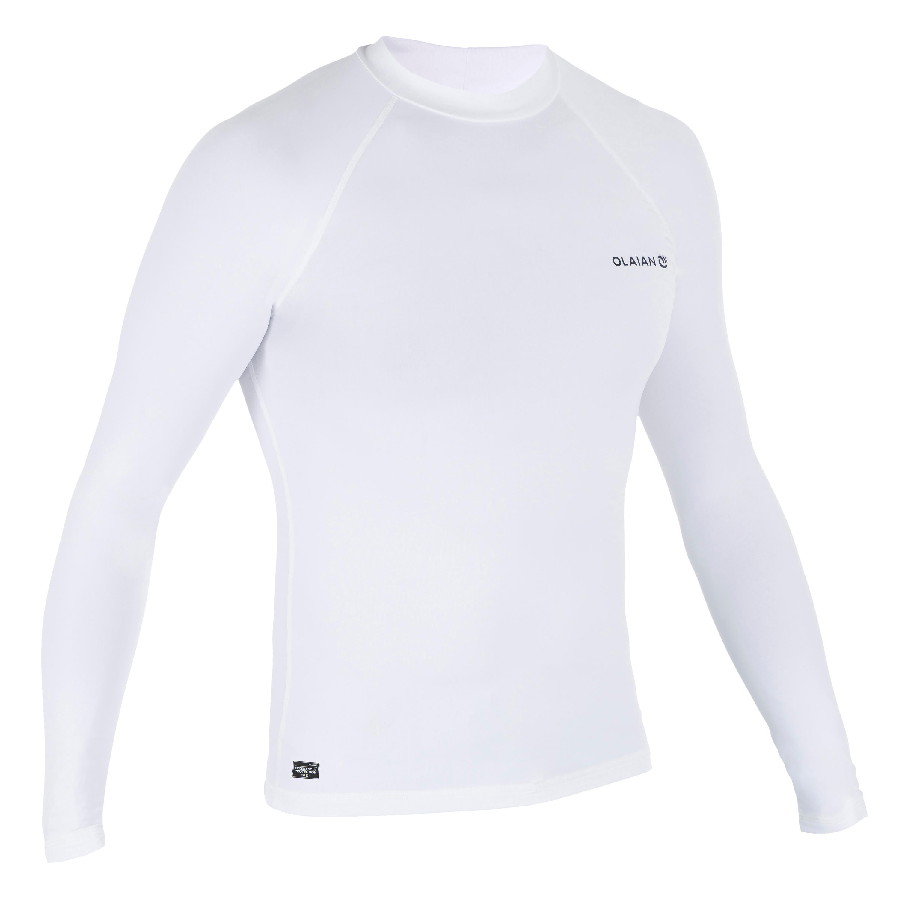 Playera de surf anti-UV Top 100 manga larga hombre Blanco