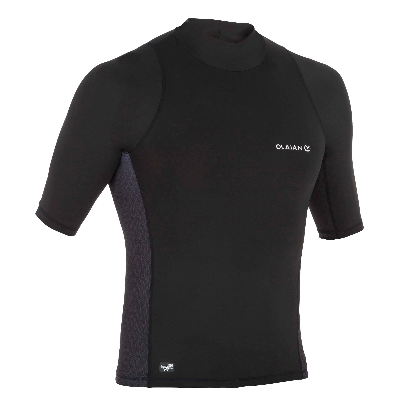500 Men's Short Sleeve UV Protection Surfing Top T-Shirt - Black