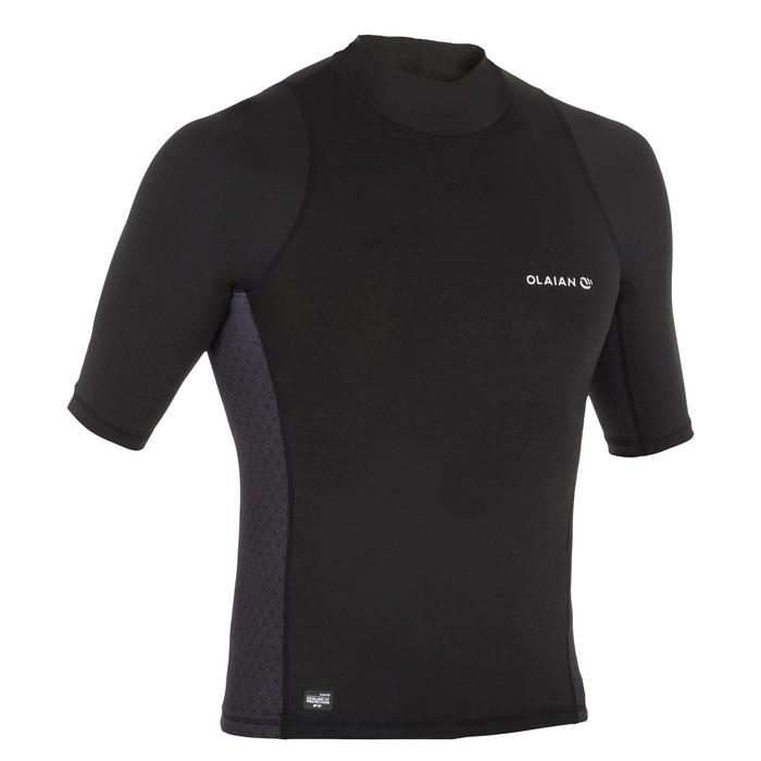 Camiseta anti-UV surf top 500 manga corta hombre Negro