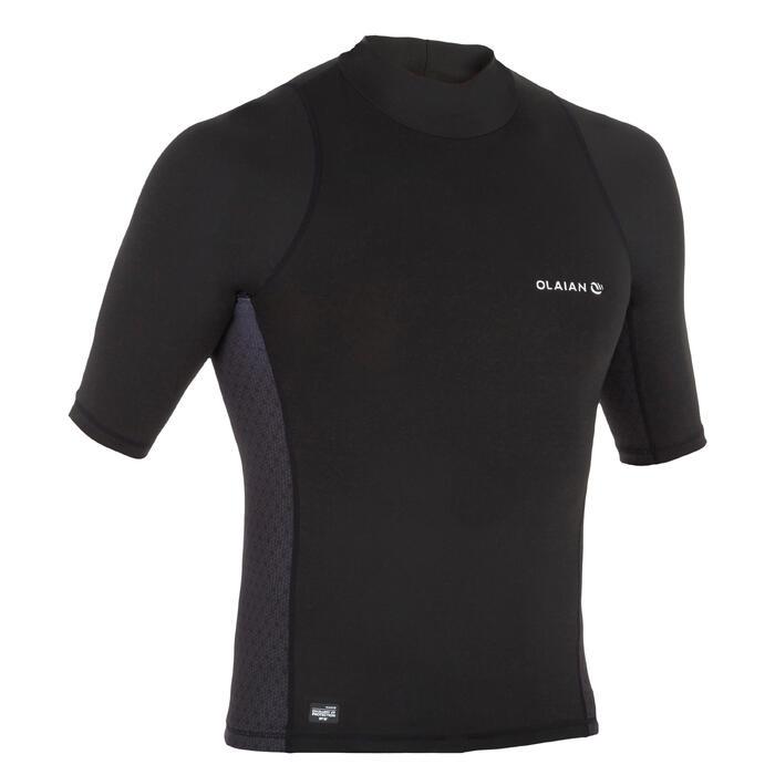 Uv-werende rashguard 500 met korte mouwen voor heren, voor surfen, zwart - 1296654