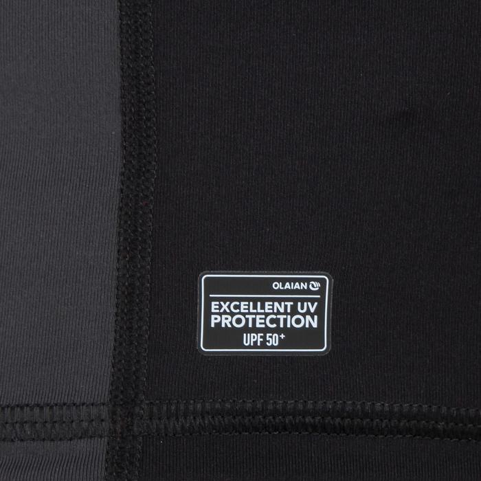 Camiseta anti-UV surf top 500 manga larga hombre Negro gris