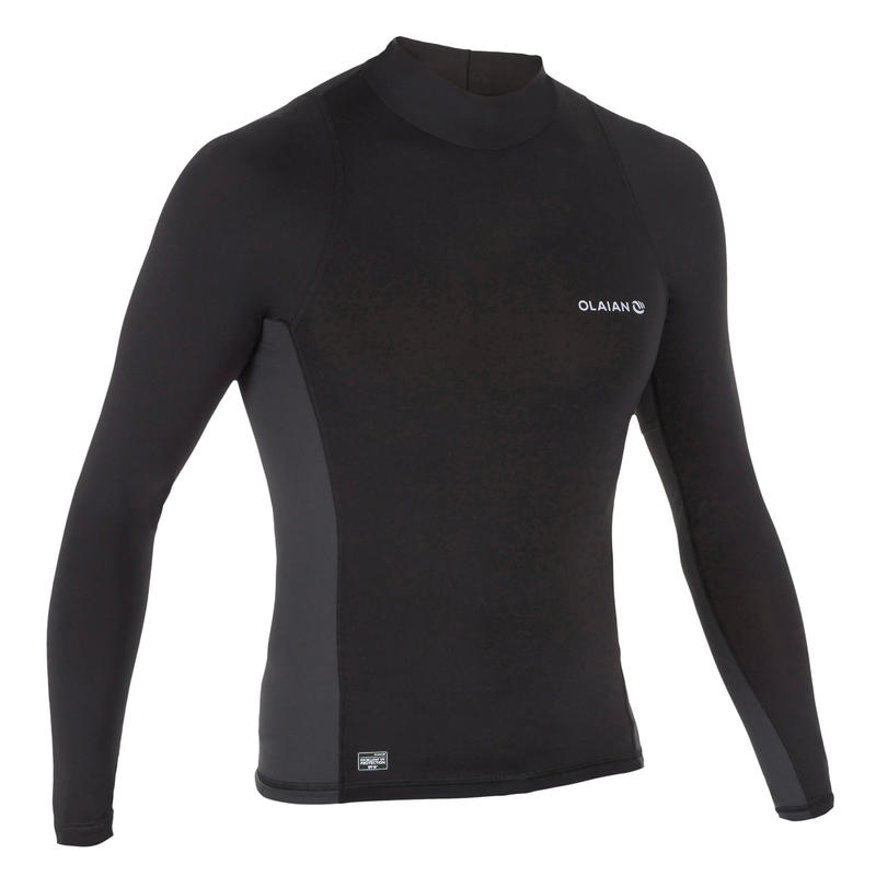 500 Men's Long Sleeve UV Protection Surfing Top T-Shirt - Black grey