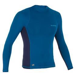 tee shirt anti uv surf top 500 manches longues homme bleu