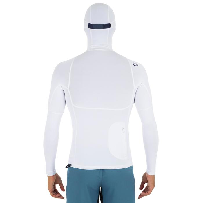 500 Men's long-sleeved UV-protection surfing T-Shirt with hood - White