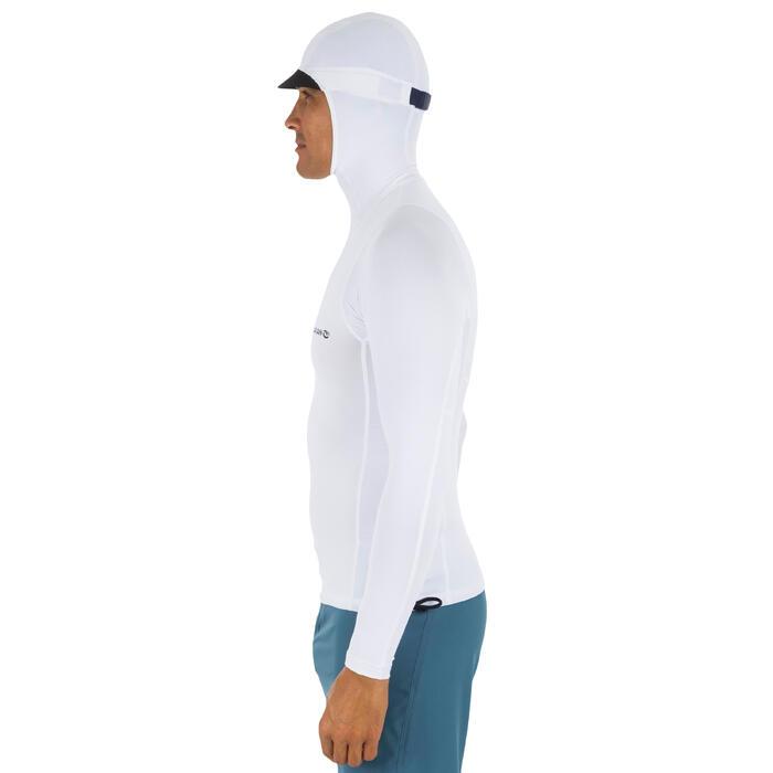 uv-werende rashguard 500 met kap voor heren wit